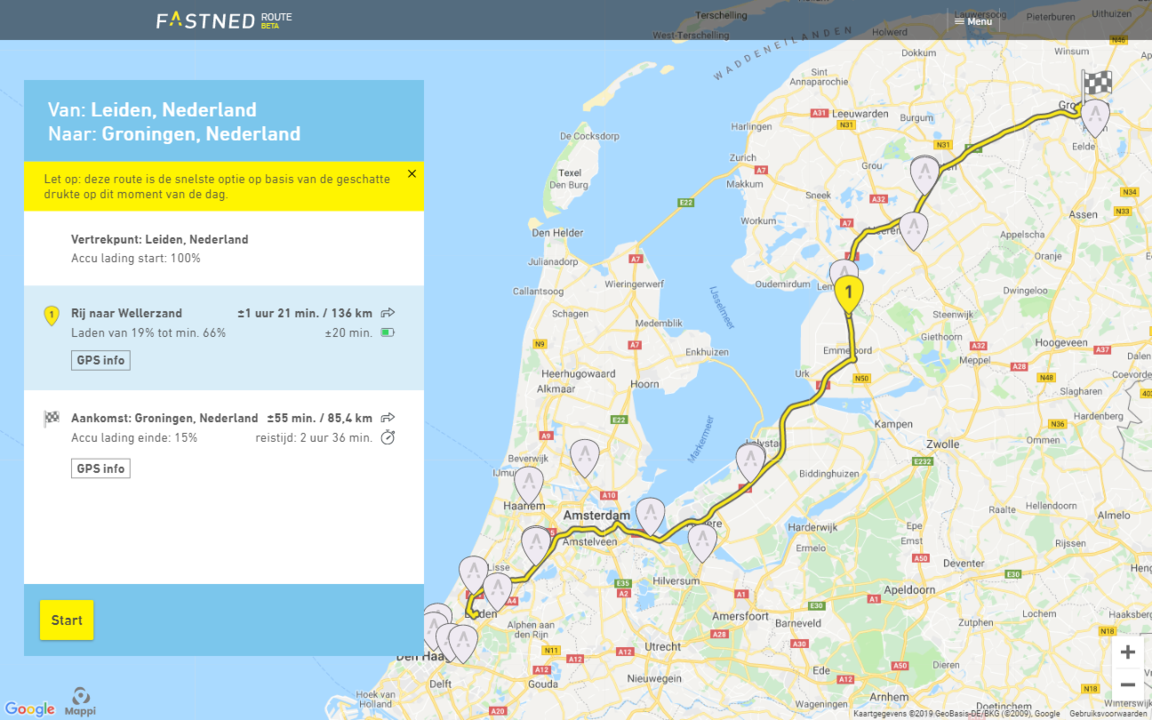 Fastned routeplanner