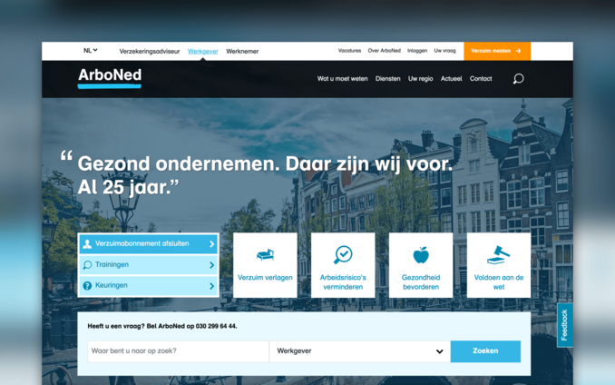 Screenshot van de website van ArboNed