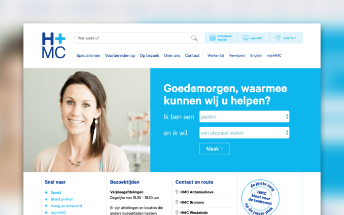 Screenshot van de website van Haaglanden Medisch Centrum