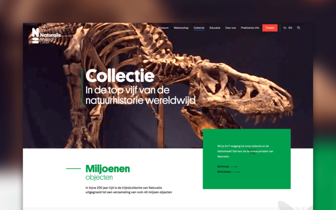 Screenshot van de website van Naturalis