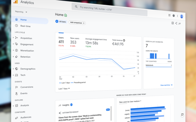 Screenshot van een Google Analytics 4 pagina